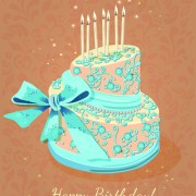 Link toVintage birthday cake background art vector 03 free