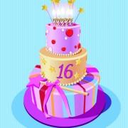Link toVintage birthday cake background art vector 05 free