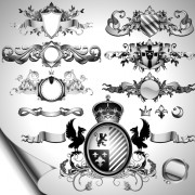 Link toVintage black and white badge with heraldry vector set 05 free
