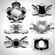 Link toVintage black and white badge with heraldry vector set 09 free