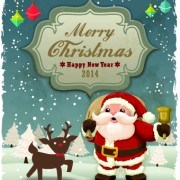 Link toVintage cartoon santa background vector 01