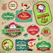 Link toVintage christmas elements and labels vector 01