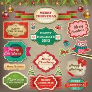 Link toVintage christmas labels and elements vector set 03