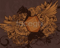 Link toEuropean vintage eagle with shield vector eps format wings the eagle totem retro pattern