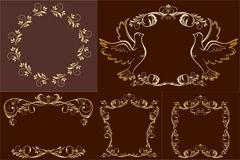 Link toVintage gold frame of the pattern vector