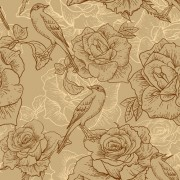 Link toVintage hand drawn birds and flower pattern vector free