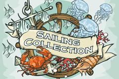Vintage nautical fish elements vector