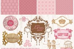 Link toVintage pink wedding decoration element vector