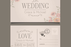 Link toVintage postcard style wedding invitation card vector