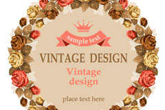 Link toVintage rose-wreath background vector