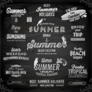 Link toVintage summer logos with ornaments design vector 01 free
