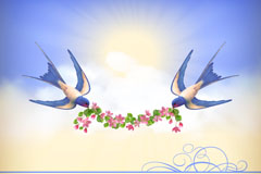 Link toVintage swallows and peach flower background vector
