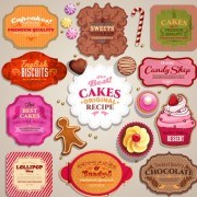 Link toVintage sweets and cake labels vector