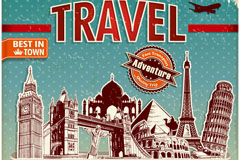 Link toVintage travel posters, vector
