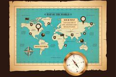 Link toVintage world map and compass vector graphics