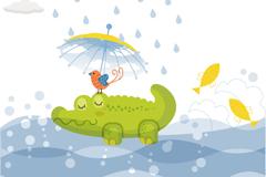 Link toWalt green alligator vector illustration
