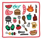 Link toWalt grill element icons vector