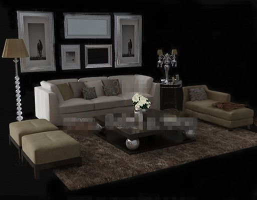 Warm and comfortable beige sofa combination 3d model