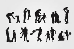 Link toWarm father and children silhouettes vector