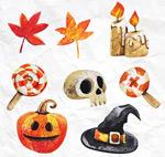 Link toWater painting halloween elements vector