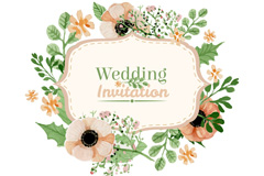 Link toWatercolor blooms wedding invitation card vector