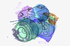 Watercolor camera design vector