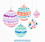 Link toWatercolor christmas ball cards vector