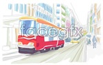 Link toWatercolor city-street view vector