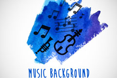 Link toWatercolor doodle music background vector