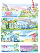 Link toWatercolor dream homes vector