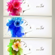 Link toWatercolor floral woman creative design 06 free