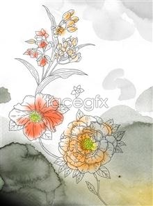 Link toWatercolor flower buds series style psd
