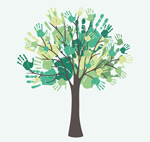 Link toWatercolor handprint tree vector