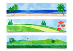 Watercolor landscape vector