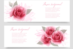 Link toWatercolor roses banner vector