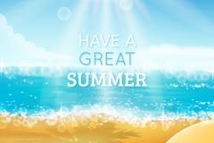 Link toWatercolor summer beach vector illustration