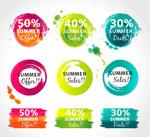 Link toWatercolor summer discount labels vector