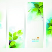 Link toWatercolor with green leaves banner vector free