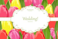 Link toWatercolour tulips wedding invitation card vector