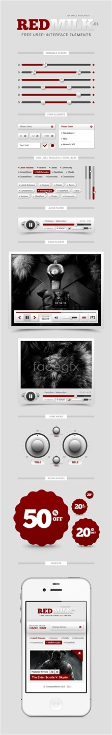 Link toWeb player ui interface psd templates