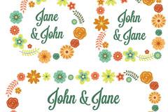 Link toWedding couple decorative wreaths vector