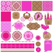 Link toWedding labels with seamless pattern vector 01 free