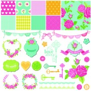 Link toWedding labels with seamless pattern vector 03 free