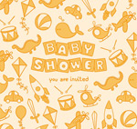 Link toWelcome baby party toy poster vector