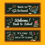 Link toWelcome back to school hand-painted banners vector
