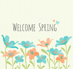 Link toWelcoming the spring flowers vector