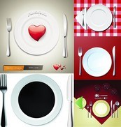 Link toWestern-style dinner plates dinnerware vector