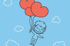 Link toWhile dragging a red balloon boy vector