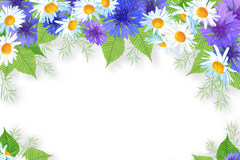 Link toWhite and purple chrysanthemums border design vector