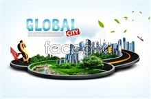 Link toWhite background psd dollar high-speed city poster